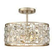 2-Light Semi Flush Mount, Dining/Living Room Foyer Ceiling Light