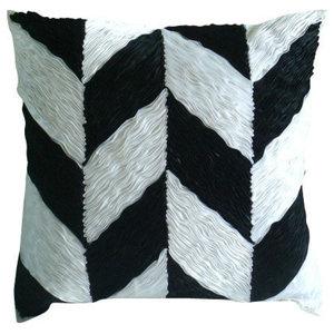 Ribbon Black Rose Black Cushions Cover, 55x55 Silk Cushion Cover, Black N White