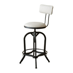 GDF Studio Adjustable Fabric Off-White Swivel Barstool With Backrest