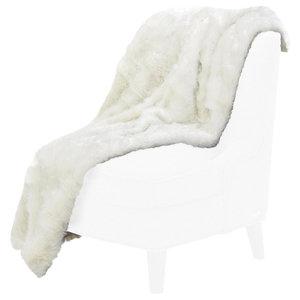 Brighton Faux Fur Throw by Michael Amini, Silver
