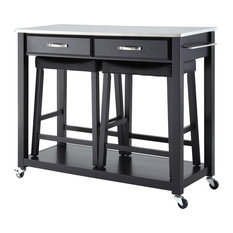 """Crosley - Stainless Steel Top Kitchen Cart, Black, 24"""" Black Upholstered Saddle Stools - Kitchen Islands and Kitchen Carts"""