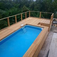 Houzz piscine fuori terra mediterraneo - Piscina esterna legno ...