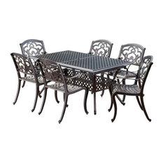 GDF Studio Ariel Outdoor 7 Pc Cast Aluminum Dining Set with Extension Leaf