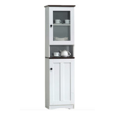 Baxton Studio - Lauren 2-Tone White and Dark Brown Buffet and Hutch Kitchen Cabinet - China Cabinets and Hutches