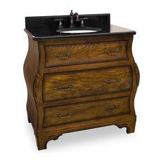 "Marshall Wood Vanity, Black Granite Top, 34"""