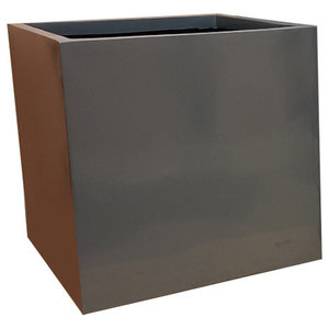 Glossy Grey Cube Fibreglass Planter, 80x80x80 cm