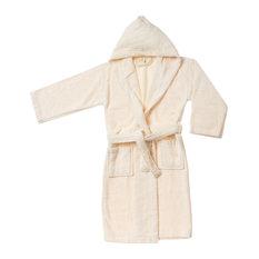 Superior Egyptian Cotton Kids Hooded Unisex Terry Bath Robe, Small/Medium, Ivo