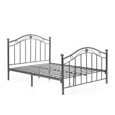 Black and Silver Metal Bed, Queen