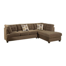 HomeRoots   2 Piece Corduroy Sectional Sofa In Waffle Suede, Truffle   Sectional  Sofas