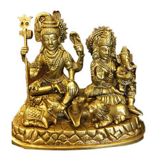 Mogul Interior - Indian Religious Gift God Shiva Ganesha Parvati Family Brass Idol Sculpture - Decorative Objects And Figurines