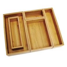 Lipper Bamboo Drawer Organizer Ajustable 5 Piece Set