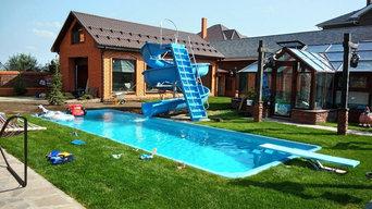 Строительство композитного 10 метрового бассейна  заказчик : Частное лицо