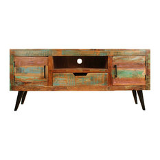 Coastal Widescreen Television Stand With Iron Legs