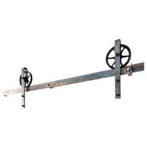Industrial Spoke European Slide Door Hardware, Brushed Steel, 10ft, 4 Roller