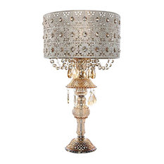 "24"" Jeweled Blossoms Table Lamp, Champagne"