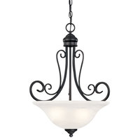 Hardware House 3 Light Tuscany Large Pendant, Textured Black