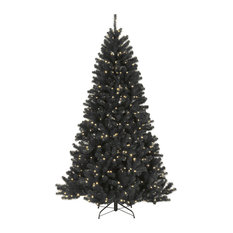 National Tree Company - North Valley Black Spruce Tree With Clear Lights, 7.5' - Christmas Trees