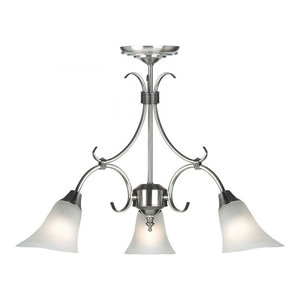 Antique Silver Effect Plate & Frosted Glass 3lt Pendant 40W