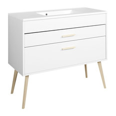 Oslo Bathroom Vanity Unit, Matte White, 80 cm