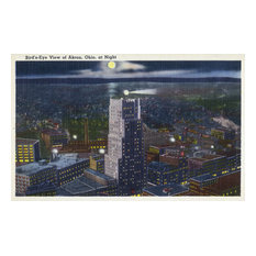 """""""Akron, Ohio, Aerial View of The City at Night"""" Print, 24""""x36"""""""