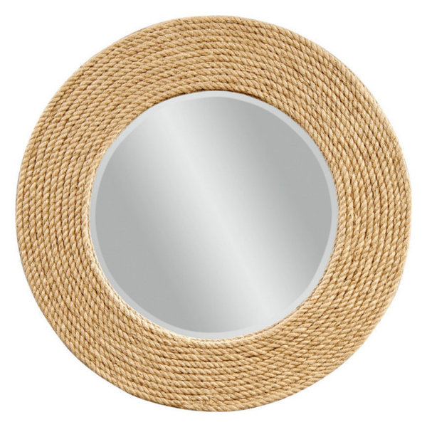 Palimar Wall Mirror, Sisal Rope Frame Finish
