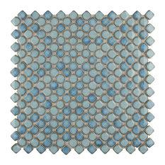 "12.38""x12.38"" Jewel Porcelain Mosaic Floor/Wall Tile, Marine"