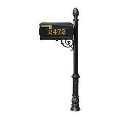Mailbox Post System-Decorative Ornate Base-Gold Vinyl Personalized Number, Black