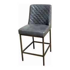 Leather Counter Stool With Bronze Steel Frame, Gray