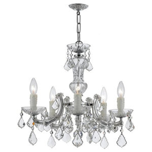 Jubilee Collection 75802-2419 5 Light White Colleen Chandelier with Pink//White Striped Shades