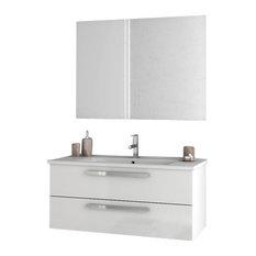 """38"""" Glossy White Bathroom Vanity Set"""