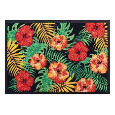 Hibiscus Easy-Clean Door Mat