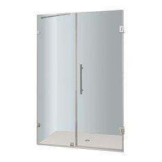 "Aston Nautis Frameless Hinged Shower Door, Chrome, 50""x72"""