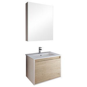 Daily 1-Drawer Bathroom Vanity Unit, Bamboo and White, 80 cm