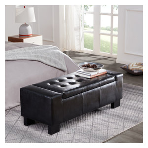 Miraculous 44 Pu Leather Tufted Shoe Rack Ottoman Storage Bench Black Short Links Chair Design For Home Short Linksinfo