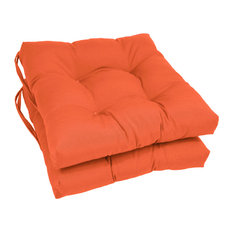 """16"""" Solid Twill Square Tufted Chair Cushions, Set of 2, Tangerine Dream"""