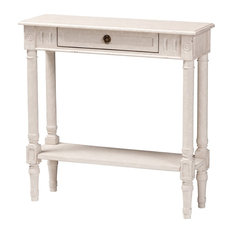Ariella Country Cottage Farmhouse Whitewashed 1-Drawer Console Table