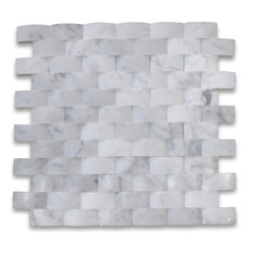 """12""""x12"""" Carrara White 3D Cambered Brick Arched Mosaic Honed, Chip Size: 1""""x2"""""""