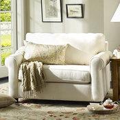 Buchanan Upholstered Twin Sleeper Sofa, Polyester Wrap Cushions, Linen Silver Ta