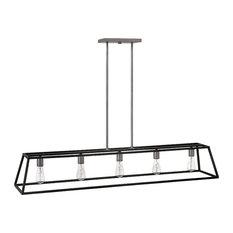 Hinkley Fulton Chandelier 5-Light Open Frame Linear, Aged Zinc