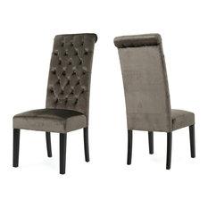 GDF Studio Leona Tall Back Tufted New Velvet Dining Chairs, Gray, Set of 2