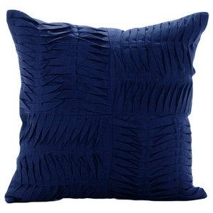 Blue Cotton Linen 30x30 Textured Pintucks Cushion Covers, Navy Knight