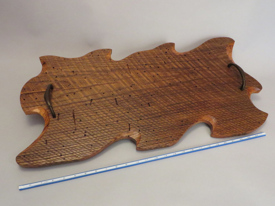 Tray 17022: Wormy Chestnut Oak, Footed, Rustic Surface, Pull Handles.