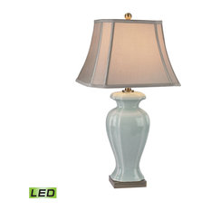 "29"" Ceramic LED Table Lamp, Celadon Glaze"