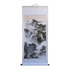 Chinese Hand Painted Tai Mountain's Wonderful View Motif Hanging Scroll
