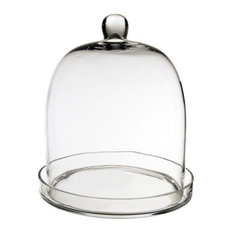 """Cloche Bell Glass Dome With Tray, 11"""""""