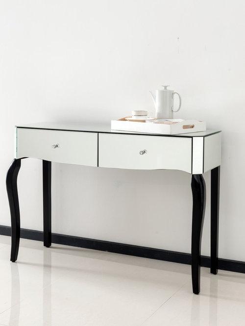 Romano Crystal Mirrored Console Table   Bedroom U0026 Makeup Vanities