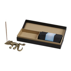 Smooth Gecko Brass Incense Holder and Incense, Indonesia
