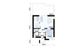 Классический двухэтажный коттедж с фасадами из кирпича.Планировка 1 этажа