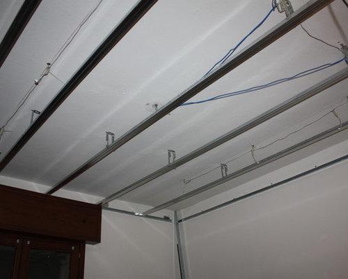 Installazione controsoffitto con faretti e profilo per striscia led