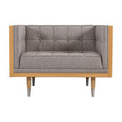 Woodrow Box Chair, Premium Fabric Upholstery, Seat: Urban Pebble, Base: Ash
